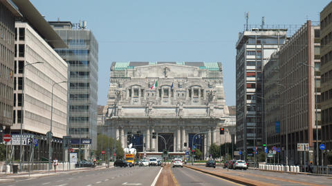 Milan central station front view from broad avenue Footage
