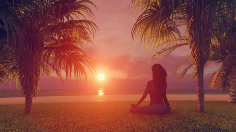 African woman meditating on tropical beach at sunrise time lapse Animation