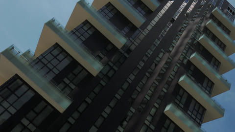 Panorama of Residential skyscrapers seen from below in Milan, Italy Footage