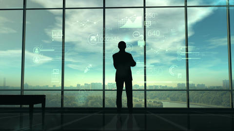 Silhouette of man and corporate infographics Animación