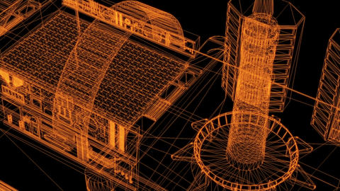 3d rendering - wire frame model of industrial buildings Animation