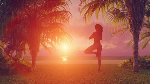 African woman meditating on beach in yoga tree pose at sunset Animation