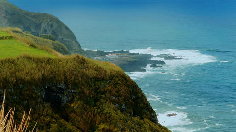 Establishing shot of the Sao Miguel island in the Azores, Portugal Footage
