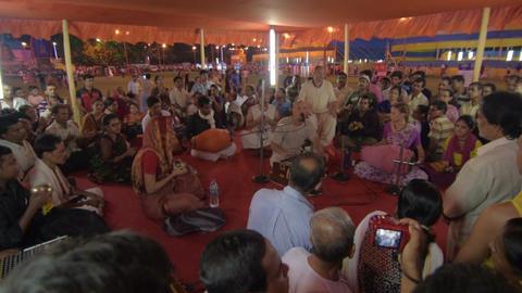 Devotees singing spiritual songs , on Rath yatra festival in Kolkata city Live Action
