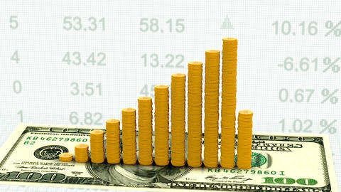 Growth rate of currencies dollars on stock market Animation