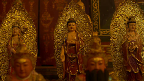 chinese Buddha statue in temple at Wat Phanan Choeng temple,Phra Nakhon Si Ayutt Footage