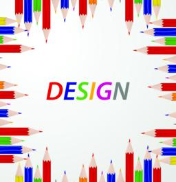 """Line up of color pencils with """"DESIGN"""" text. Education and learning concept. Vec ベクター"""
