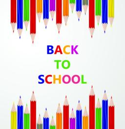 """Line up of color pencils with """"back to school"""" text. Education and learning conc Vector"""