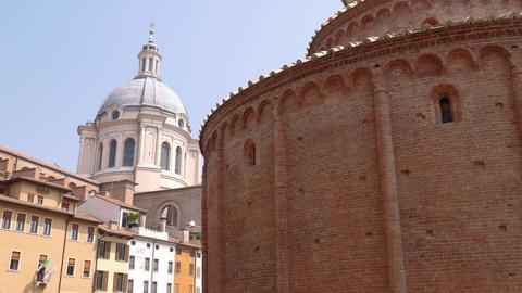 Rotonda di San Lorenzo church and dome of Saint Andreas church in Mantua Footage