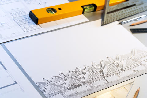 Architectural plans with tools フォト