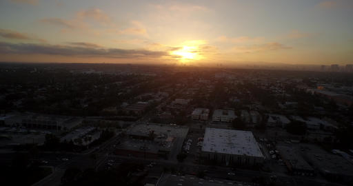 Aerial sunset view of city of Los Angeles and West Hollywood - California, USA Footage