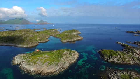 Rocky islets on Lofoten islands in Norway Footage