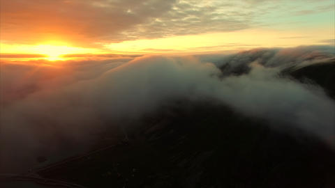 Midnight sun above the clouds on Lofoten islands Footage