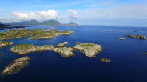 Rocky islets near Ballstad on Lofoten islands Footage