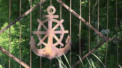 Rusty anchor and Handwheel sign Footage