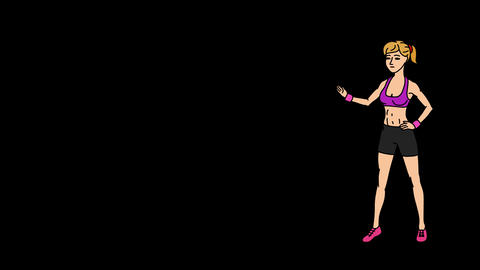 Animated Character Sportswoman or Athlete stands in full growth and says, smooth Animation