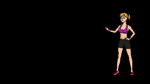Animated Character Sportswoman or Athlete stands in full growth and says, curve  Animation