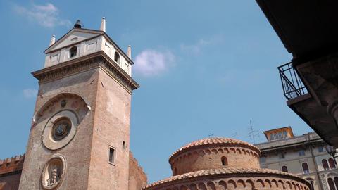 Clock Tower in Piazza delle Erbe in Mantua Footage