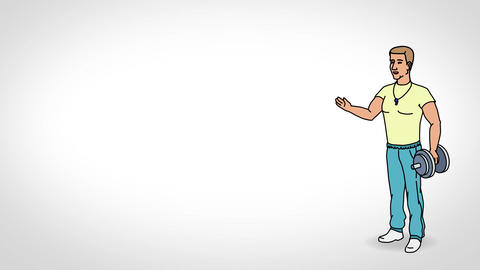 Animated Character Athlete or Coach stands in full growth and says, smooth conto Animation