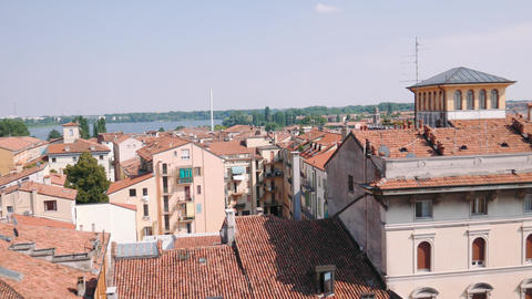 Panorama of Mantua's lake and rooftops Live Action