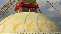 Prayer flags at Boudhanath Buddhist stupa, Nepal Footage