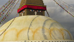 Prayer flags at Boudhanath Buddhist stupa, Nepal Footage