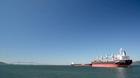 Cargo Ships and Astoria Megler Bridge Footage