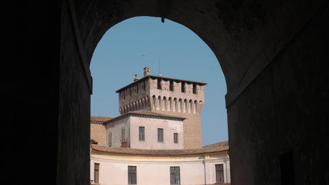 View of Tower of Saint George castle in Mantua seen from an arch Footage