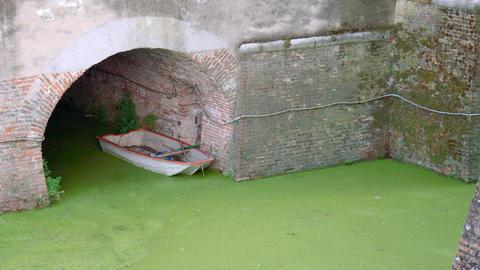Abandoned boat in Mantua Castle moat Footage