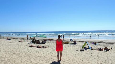 Beautiful beach in San Diego in 4K Footage