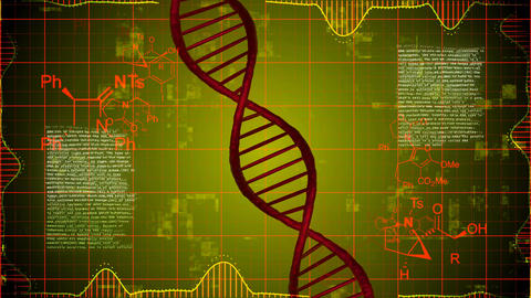 Abstract DNA Strand with science elements Animation