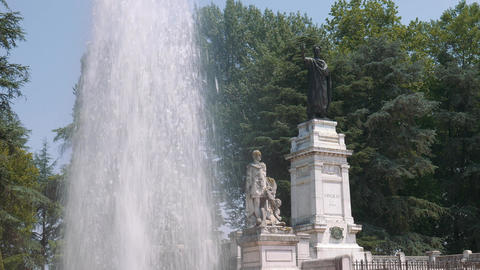 Fountain and monument to Virgil, Mantua Footage