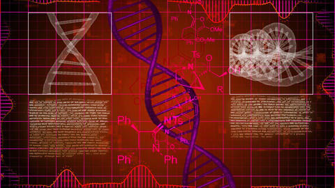 X-ray scanning of DNA strands with a red background Animation