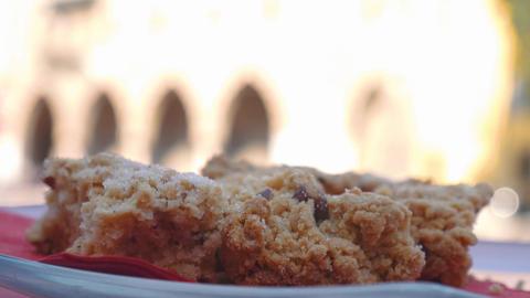 Focus shift of detail of sbrisolona traditional Mantua cake Footage
