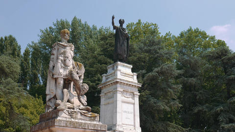 Statue of Virgil and Heroic Poetry in Mantua Footage