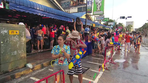 Pattaya, Thailand - April 2017: People enjoy Songkran festival at Pattaya beach Footage
