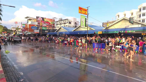Pattaya, Thailand - April 2017: People enjoy Songkran festival at Pattaya beach Footage