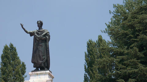 Virgil statue, figure on the left, copy space on the right, Mantua Footage