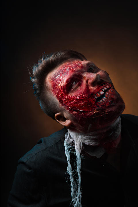 portrait of scary bad zombie at night Photo