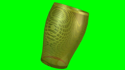 3d object artistically decorated glass with golden texture rotating on green scr Animation