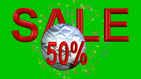 Big sale advertisement with red 3d letters, jumping metallic ball discount with  Animation