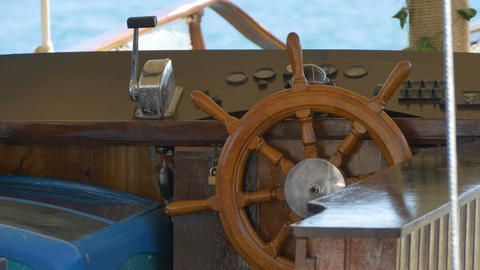 Steering Wheel Old Boat Footage