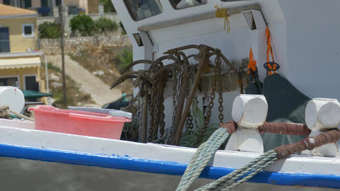 Rusty Anchors on Fishing Boats Footage