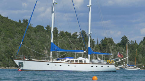 White Anchored Yacht Footage