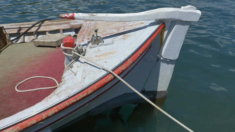 Old Fishing Boat Floating Footage