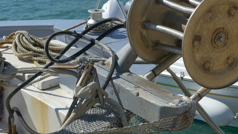 Fishing Boat Winch and Anchor Footage