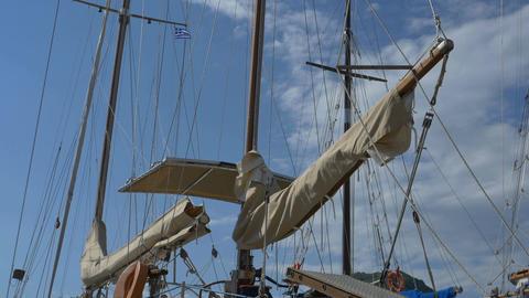 Tied Sails on Vintage Yacht Footage