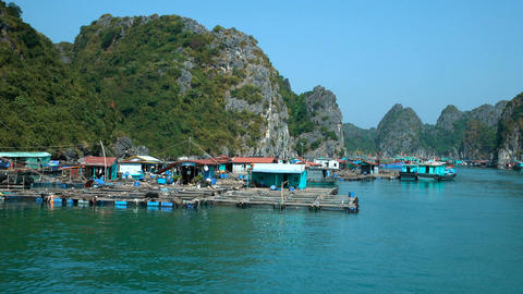 Floating village in Ha Long Bay Live Action