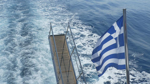 Greece Flag and Stair on Passenger Ship 画像