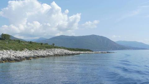 Rocky Shoreline behind Vessel Footage